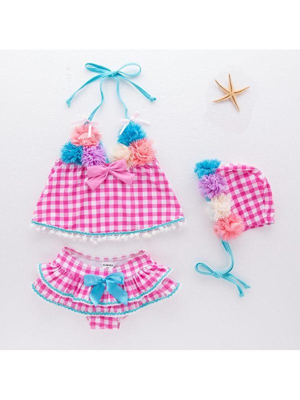 【18M-6Y】Girls Fresh Sweet Flower Plaid Split Swimsuit