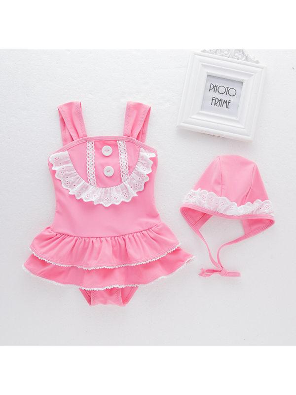 【2Y-6Y】Girls Sweet Cute Lace One-piece Swimsuit