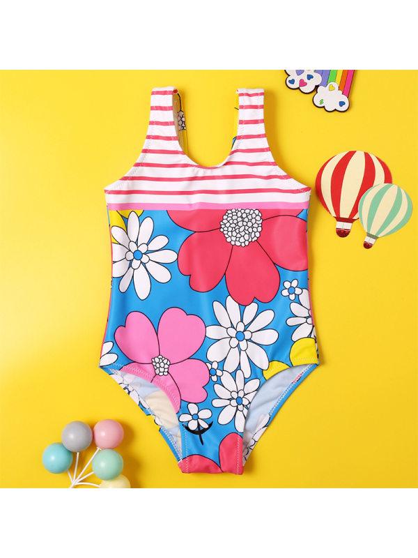 【18M-5Y】Girls Sweet Blue Flower One-piece Swimsuit