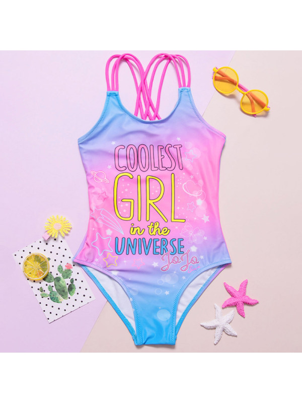 【18M-5Y】Girls Sweet Pink Letter Print One-piece Swimsuit
