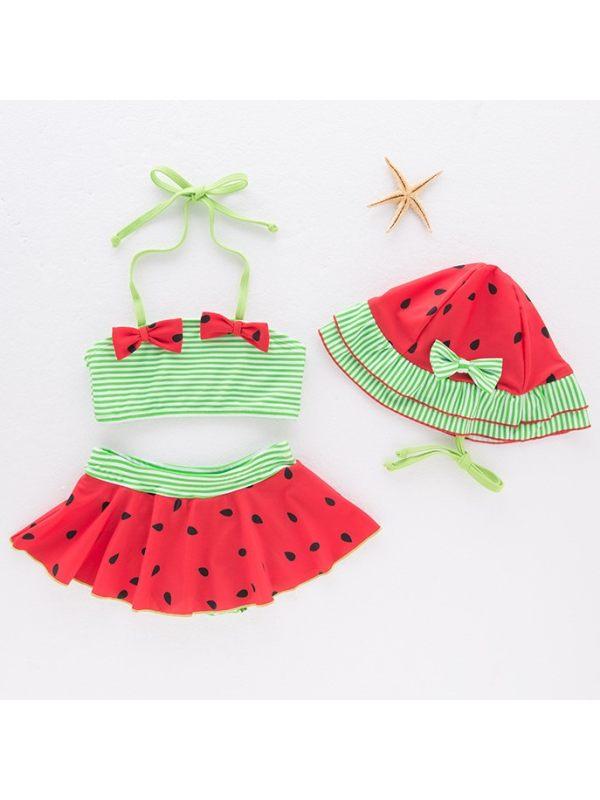 【18M-6Y】Girls Striped Watermelon Split Bikini Swimsuit