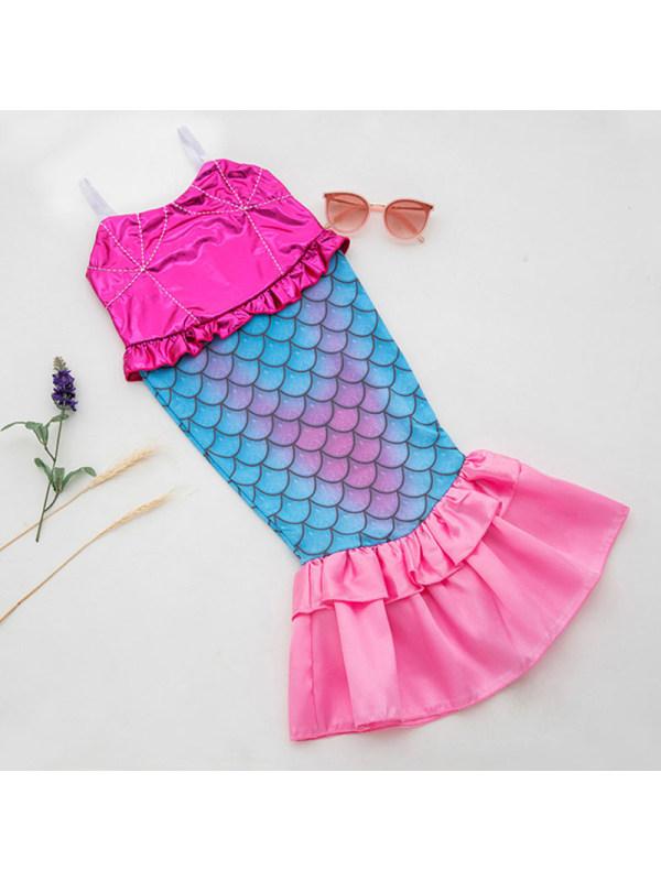 【2Y-9Y】Girls Sweet Rose Red Mermaid One-piece Swimsuit