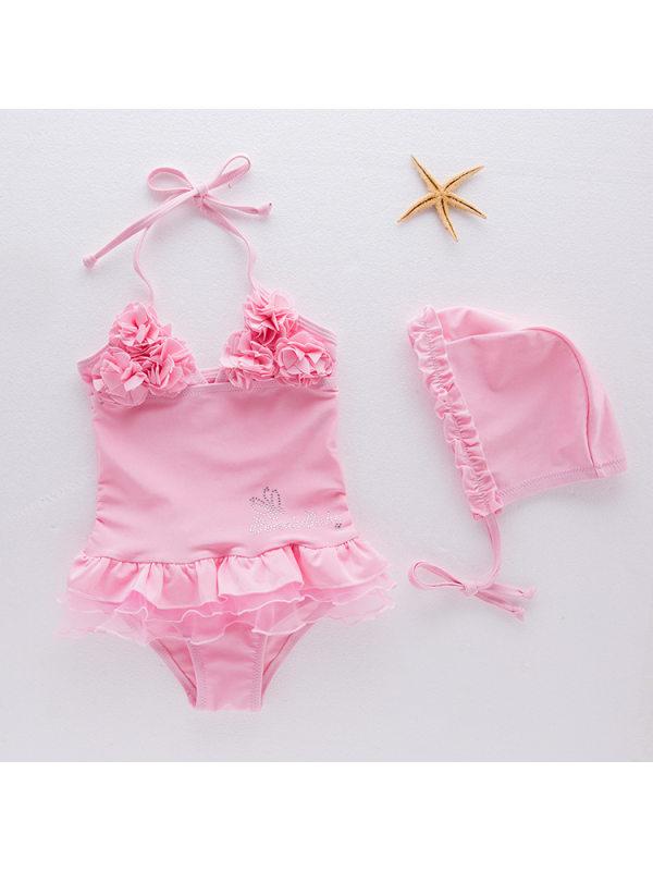 【18M-6Y】Girls Sweet Pink Flower One-piece Swimsuit