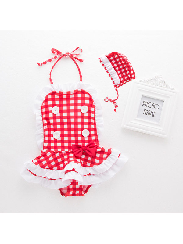 【2Y-5Y】Girls Sweet Plaid Bare-back One-piece Swimsuit