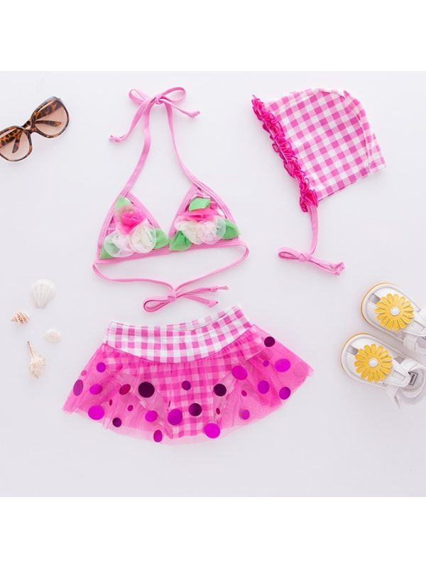 【18M-5Y】Girls Sweet Plaid Flower Sequins Mesh Split Bikini Swimsuit