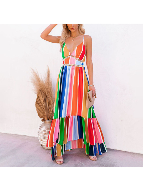 Maternity rainbow strip holiday style hollow stitching dress