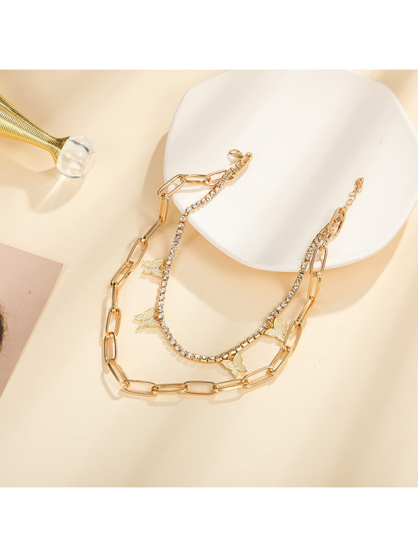 Gold Necklace Snake Bone Chain European and American Pure Al