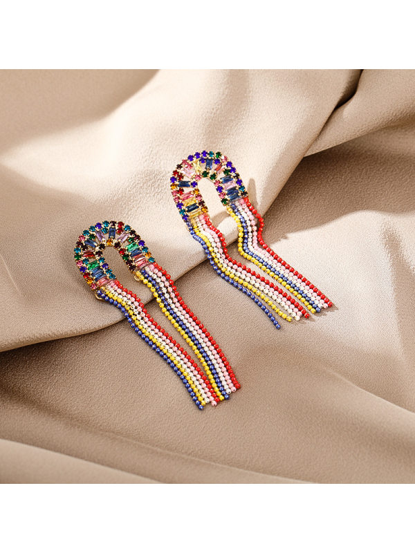 Pearl long style personality all-match European style earrin