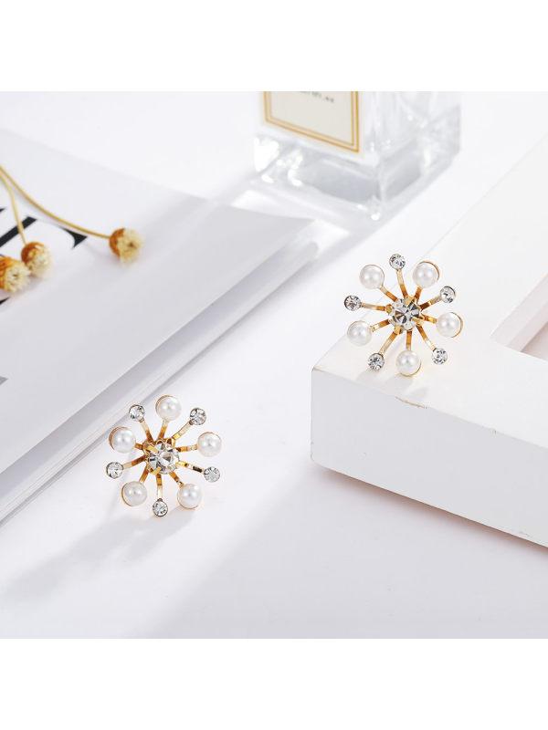 Sunflower pearl stud earrings simple and versatile earrings