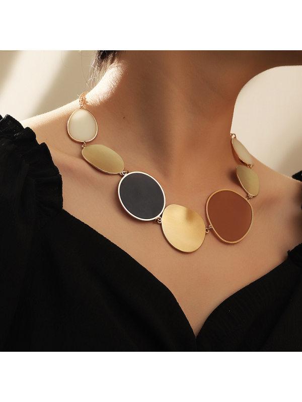 Fashion temperament irregular lens necklace exaggerated geom