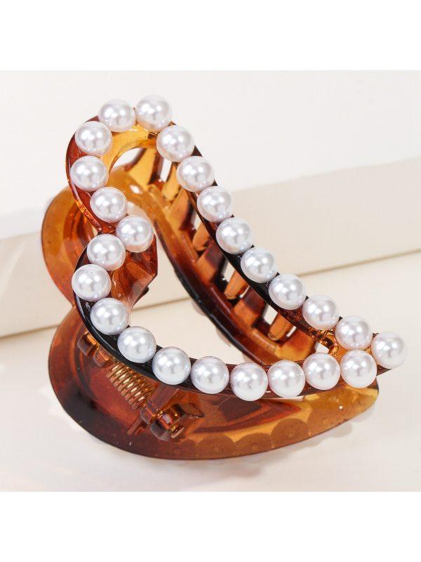 Acrylic Hair Accessories Irregular Love Pearl Edge Hairpin R