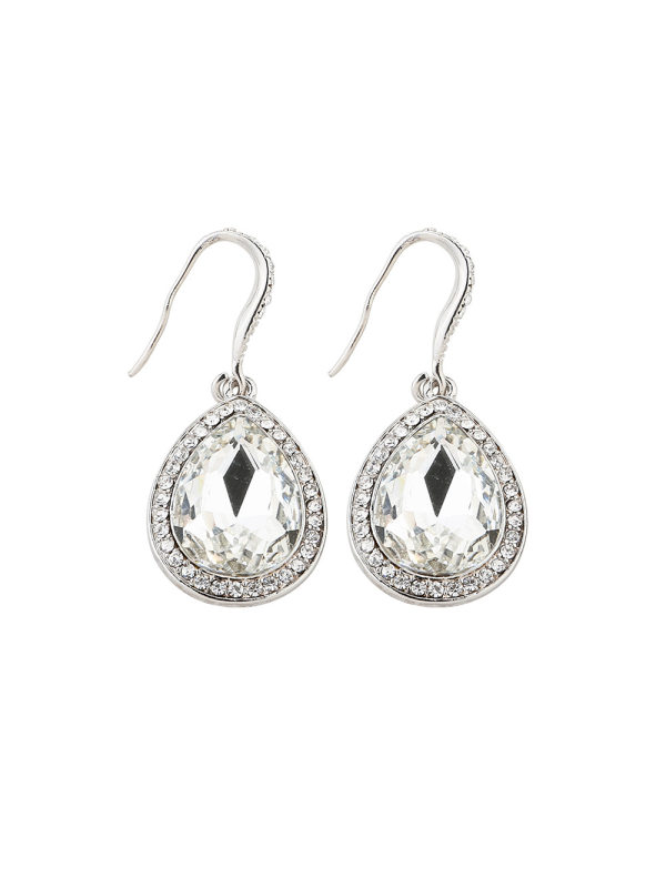 Alloy stud earrings with drop diamonds and retro creative ea