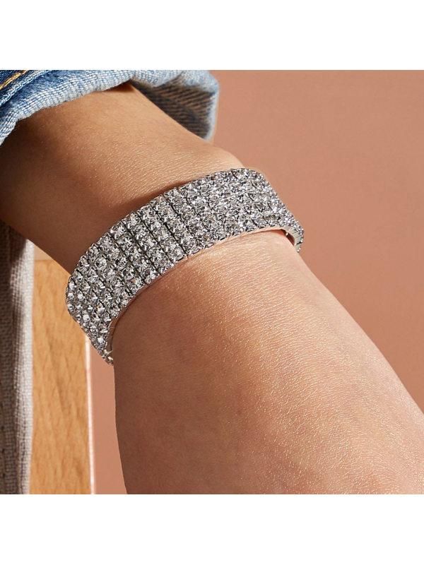 Classic full diamond stretch multi-row bracelet