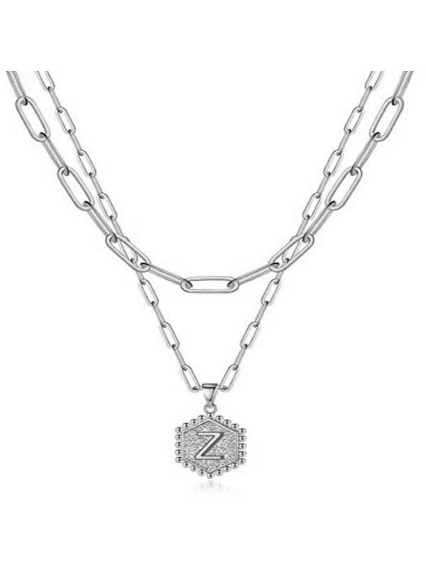 Double Paper Clip Necklace 26 Letter Hexagon Pendant Neckla