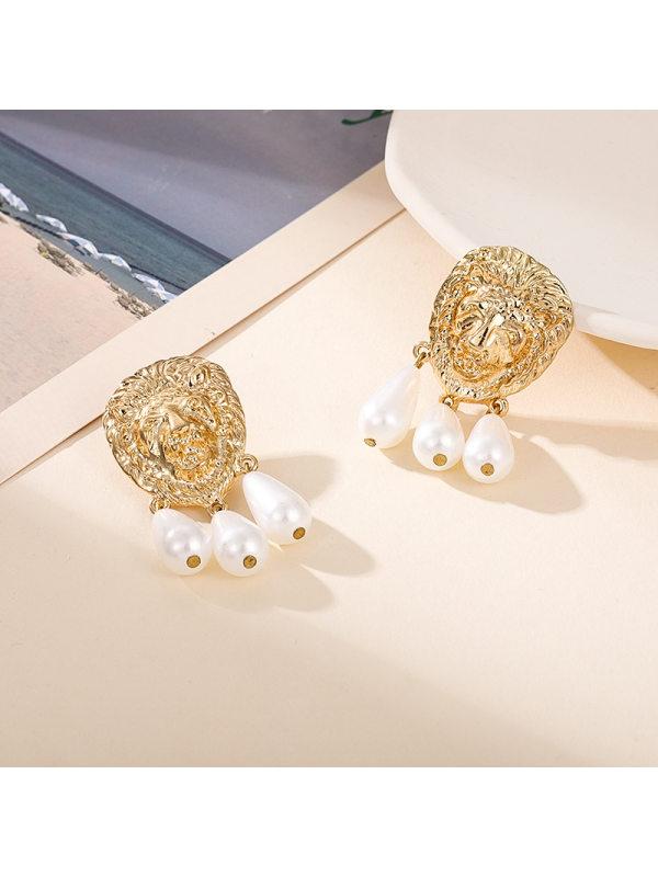 Alloy pearl earrings fashion lion head pendant wild earring