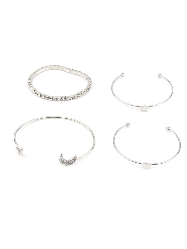 Four-piece full diamond five-pointed star and moon personality bracelet set