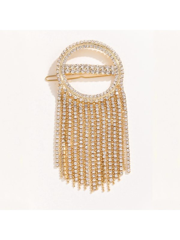 Tassel hair accessories claw chain with diamonds round wor