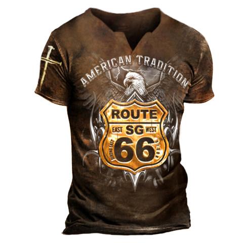 Mens Eagle Print Fashion Outdoor Casual T-shirt