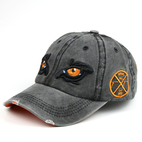 Men's embroidered distressed denim cap