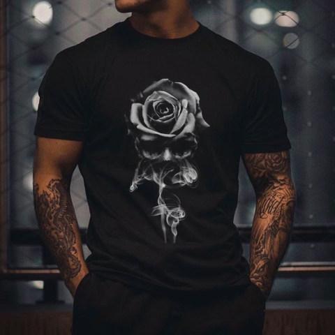 Skull Rose Print Short-sleeved T-shirt