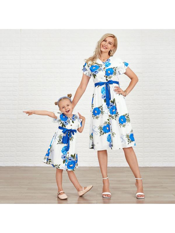 Sweet Blue Flowers Short Sleeve Mom Girl Matching Dress
