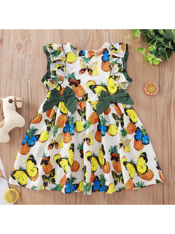【18M-7Y】Sweet Butterfly Print Round Neck Short Dress