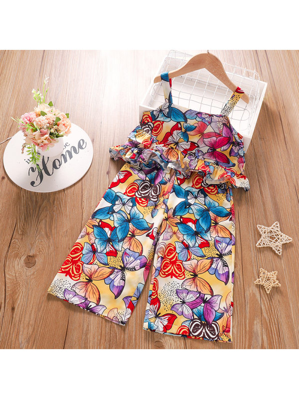 【4Y-10Y】Sweet Butterfly Print Top and Pants Set