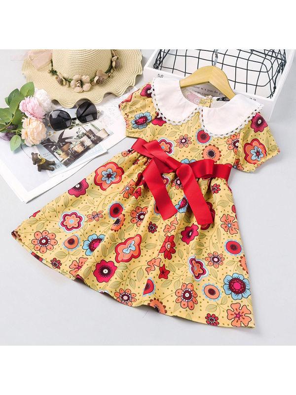 【18M-7Y】Girls Sweet Yellow Flower Lapel Short Sleeve Dress