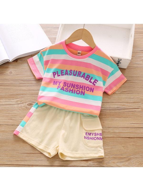 【18M-7Y】Cute Letter Print Striped T-shirt and Shorts Set