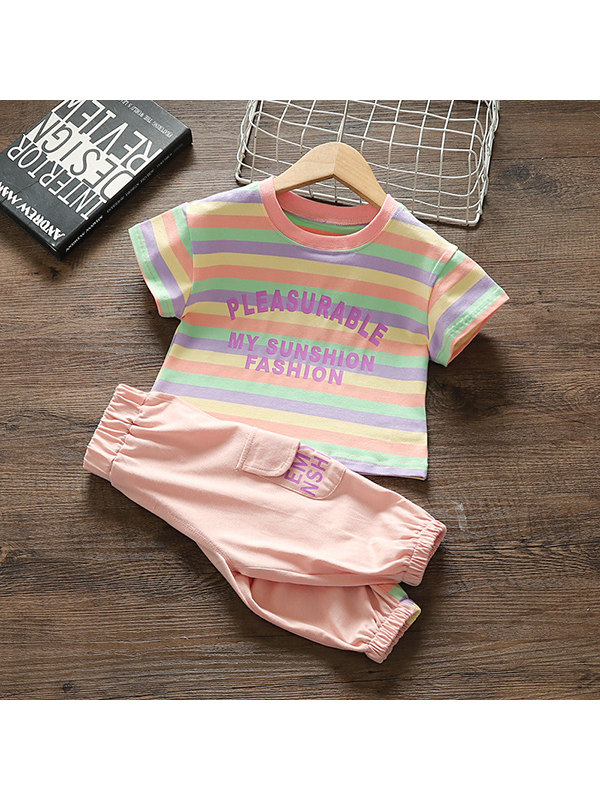 【12M-4Y】Girls' Comfortable Cotton Pants Casual Pink Striped Pullover Set