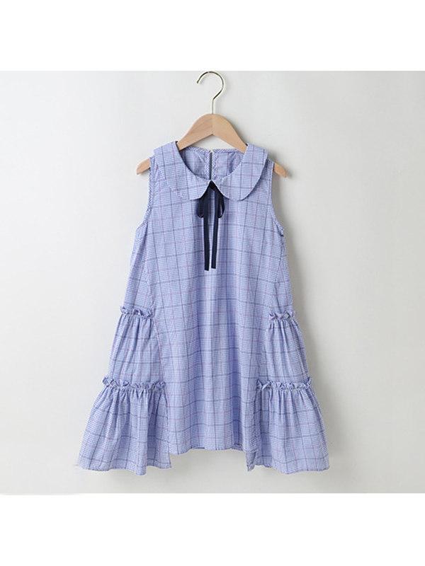 【3Y-13Y】Girls Plaid Round Neck Sleeveless Dress