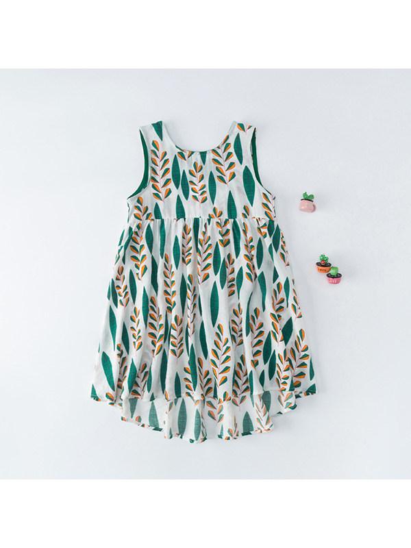 【3Y-11Y】Girls Printed Sleeveless Vest Halter Dress