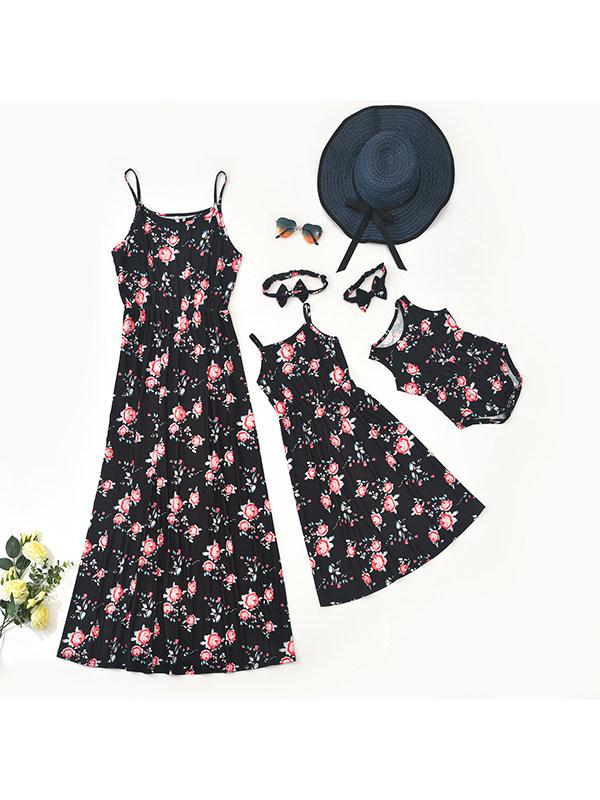 Round Neck Sleeveless Sling Flower Print Mom Girl Matching Dress