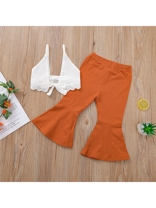 【12M-5Y】Girls Sleeveless Sexy Chest Tie Rope Vest Solid Color Flared Trousers Suit