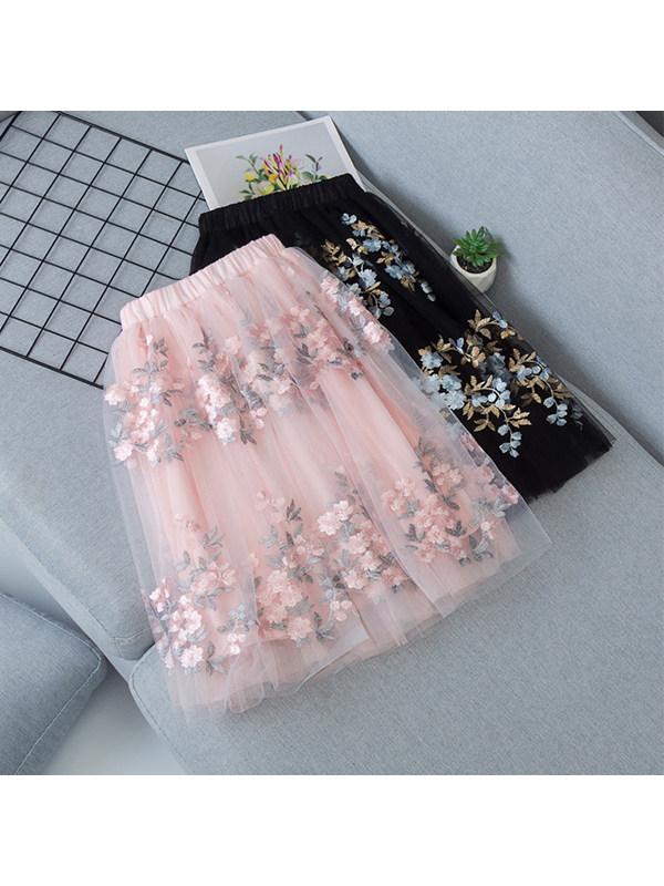 【3Y-13Y】Girls Sweet Mesh Floral Puff Skirt