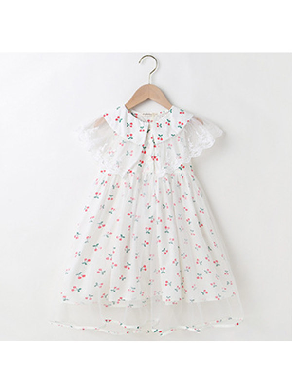【3Y-13Y】Girls Floral Pastoral Style Sleeveless Mesh Dress