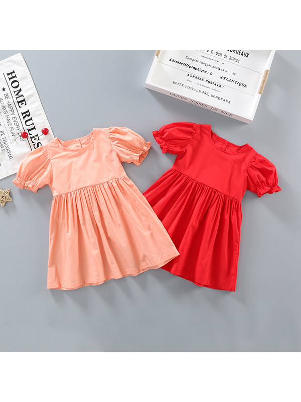 【18M-7Y】Girls Cotton Princess Dress With Backless Puff Sleeves