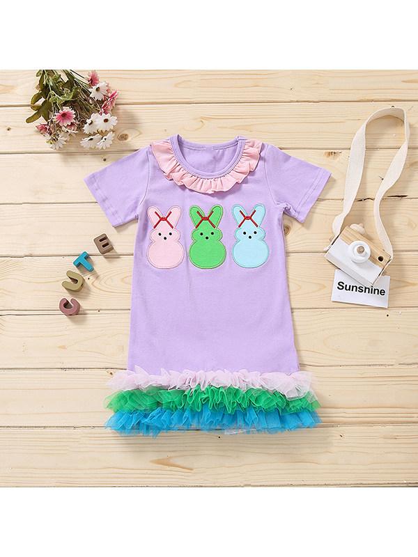 【18M-7Y】Girls Cartoon Cute Purple Short Sleeve Round Neck Dress