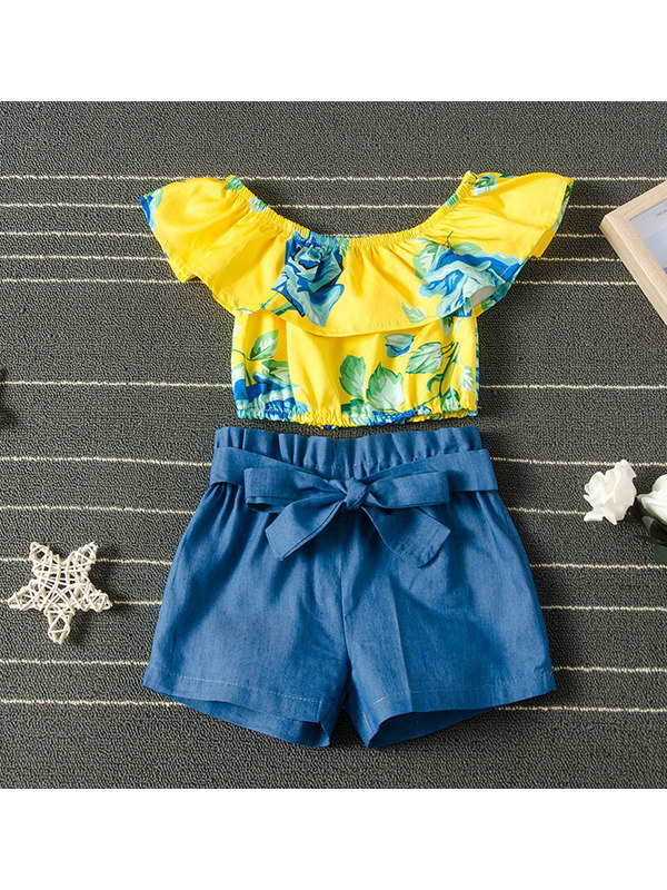 【18M-7Y】Girls' One-shoulder Printed Top + Bow Shorts Set
