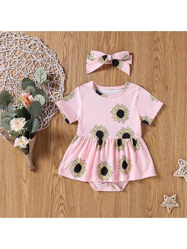 【6M-3Y】Baby Girl Leopard Sunflower Printed Hair Band Bodysuit