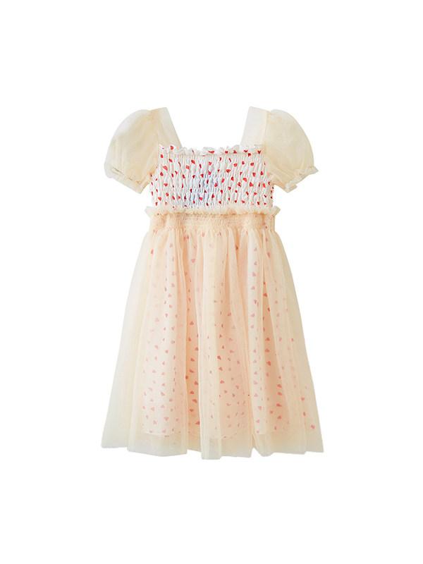 【3Y-13Y】Girls' Mesh Pleated Puff Sleeve Love Princess Dress