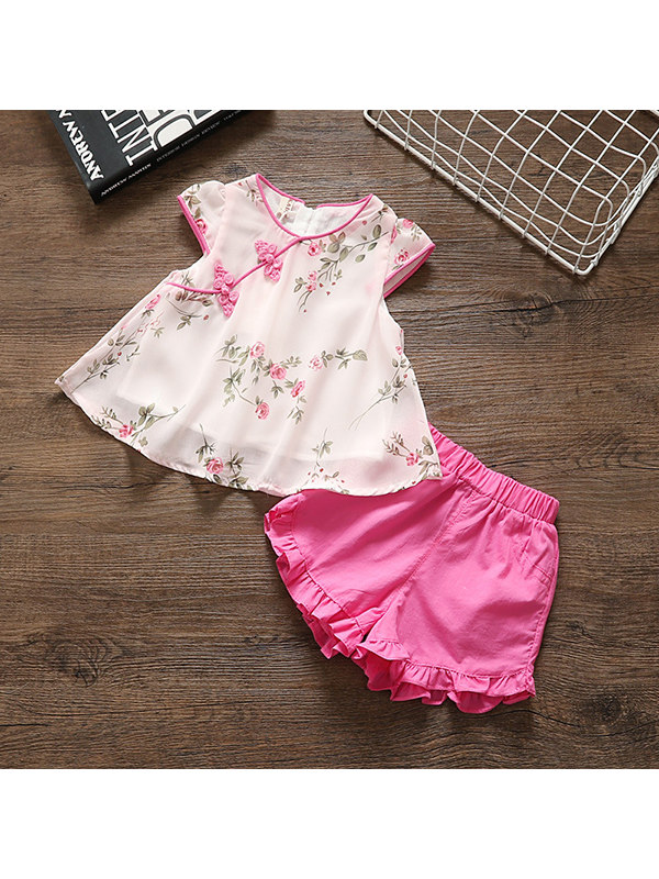 【12M-4Y】Girls Chiffon Pullover Shorts Two-piece Suit