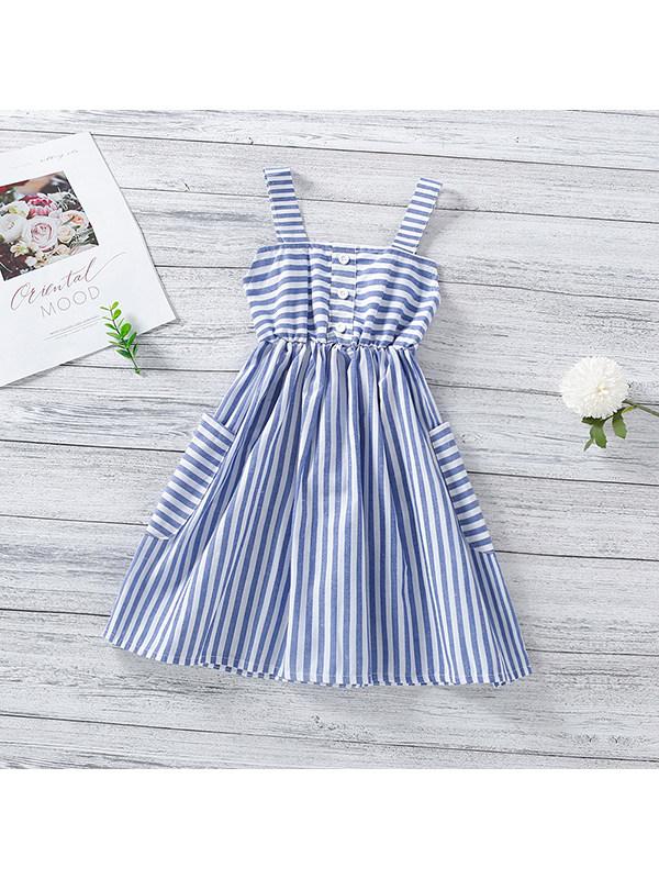【18M-7Y】Girls Striped Suspender Dress