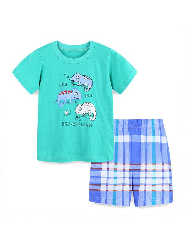 【18M-9Y】Boys Short Sleeve Cartoon Print Trend Two-piece Suit