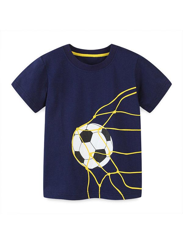 【18M-7Y】Boys Football Print Short Sleeve T-shirt