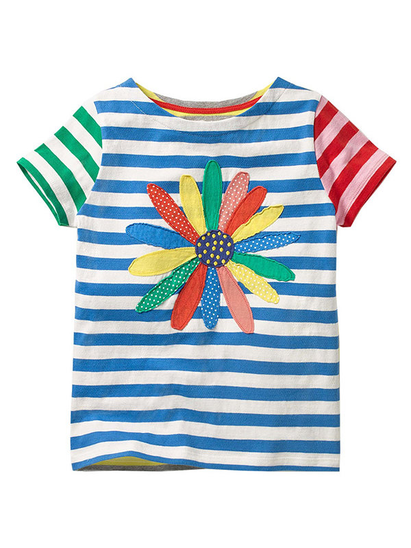 【18M-9Y】Boys Hit Color Striped Short Sleeve T-shirt