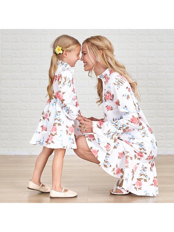 Fashion High Neck Long Sleeve Floral Mom Girl Matching Dress