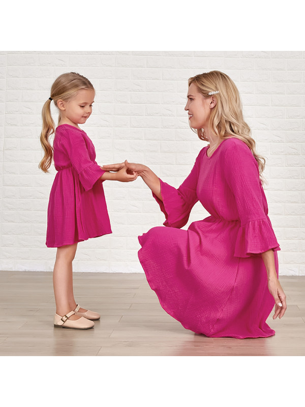 Fashion Round Neck Flared Sleeves Rose Red Cotton Blends Mom Girl Matching Dress - 1379