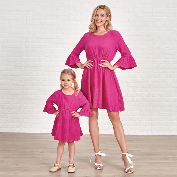 Fashion Round Neck Flared Sleeves Rose Red Cotton Blends Mom Girl Matching Dress