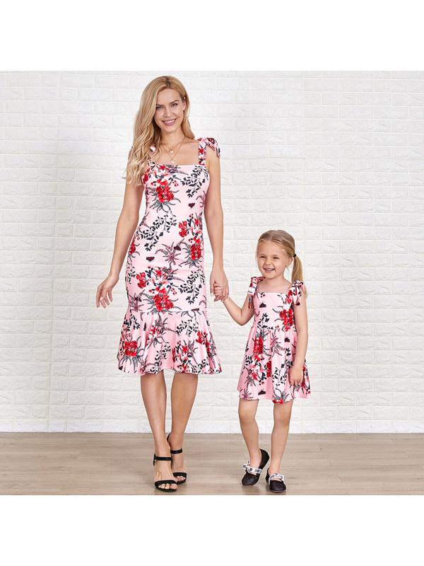 Pink Flower Suspender Midi Mom Girl Matching Dress - 1375